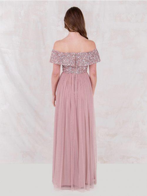Maya Frosted Pink Bardot Embellished Maxi Dress