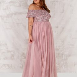 Maya Frosted Pink Bardot Embellished Maxi Dress