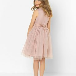 Frosted Pink Maya Mini Maids embellished bodice soft tulle midi skirt