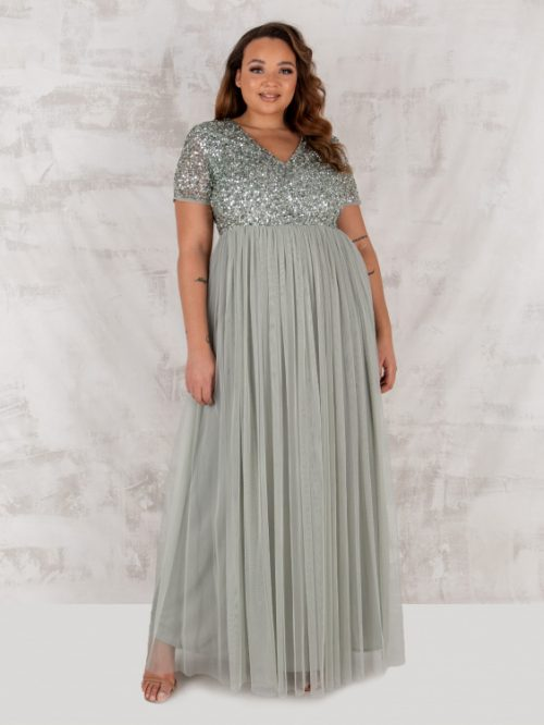 Maya Deluxe Sage Green V Neckline Embellished Maxi Dress
