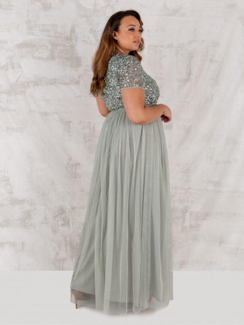 Maya Green Lily V Neckline Embellished Maxi Dress 4
