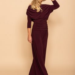 Stunning Carbon Jersey Jumpsuit with sleeve - Plum