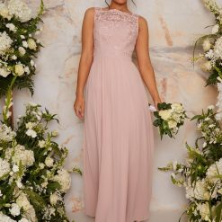 Lace Maxi Bridesmaid Dress in Pink Colour: Pink
